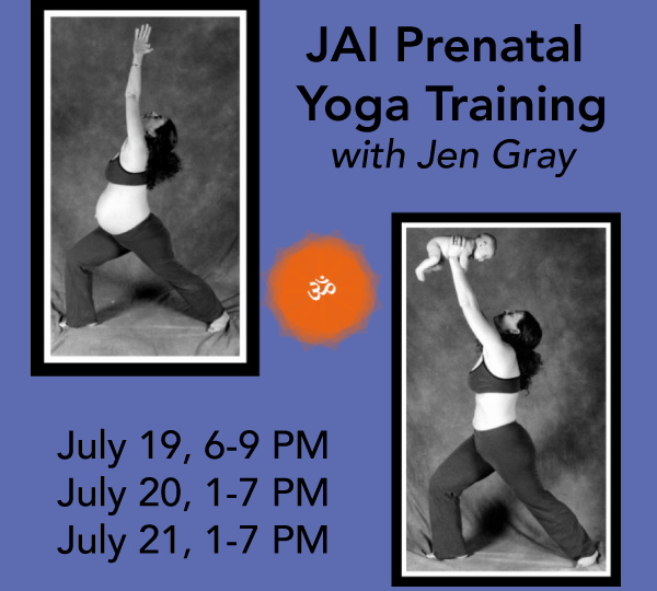 Jen Gray, creator of JAI Prenatal Yoga in warrior 1 while pregnant and holding her child over head in warrior 1 after birth.